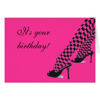 Großes Mädchen beschuht Geburtstags-Karte Mitteilungskarte