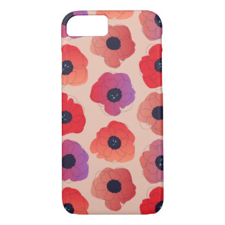 großes Mohnblumen-Poprot auf Creme iPhone 8/7 Hülle