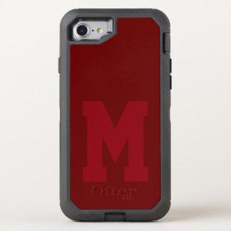 Großes rotes Uni-Monogramm OtterBox Defender iPhone 8/7 Hülle