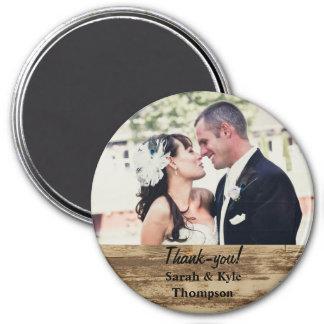 Großes rustikales Hochzeits-Foto danken Ihnen Runder Magnet 7,6 Cm