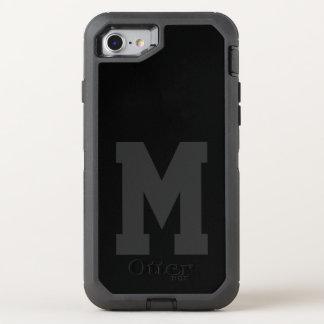 Großes schwarzes Uni-Monogramm OtterBox Defender iPhone 8/7 Hülle