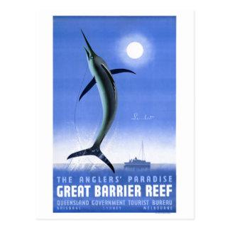 Großes Sperren-Korallenriff-Vintages Plakat Postkarte