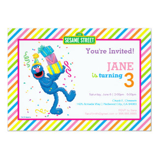 Grover Striped Geburtstag Karte