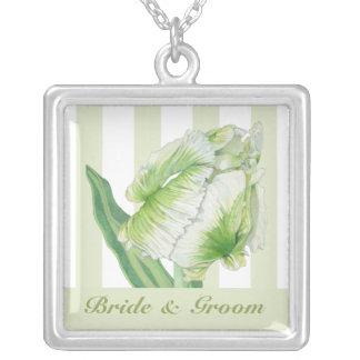 Grreen Sahnetulpe-Hochzeits-Halskette Versilberte Kette