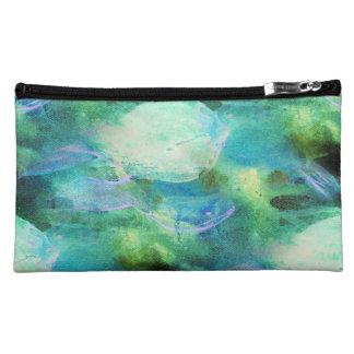 Grün-blaue abstrakte Blättertasche Makeup-Tasche