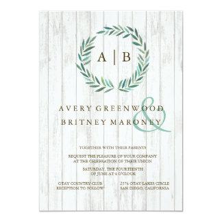 Grün-blaue Lorbeer-Kranz-Hochzeits-Einladung 12,7 X 17,8 Cm Einladungskarte