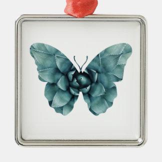 Grün-blaue saftige Schmetterlings-Silhouette Quadratisches Silberfarbenes Ornament