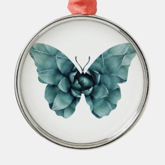 Grün-blaue saftige Schmetterlings-Silhouette Rundes Silberfarbenes Ornament