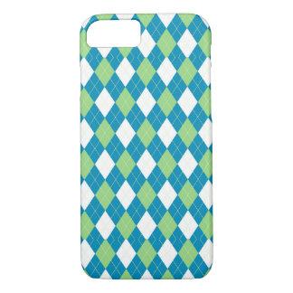Grün-blaues und weißes Rauten-Muster iPhone 7 Hülle