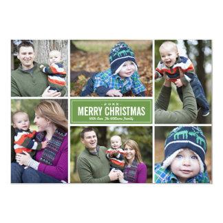 Grün der Foto-Collagen-Weihnachtsgruß-Karten-| 12,7 X 17,8 Cm Einladungskarte