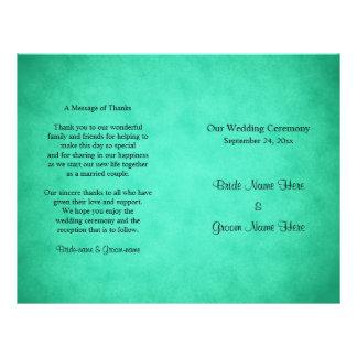 Grün gesprenkeltes Muster-Hochzeits-Programm Flyer