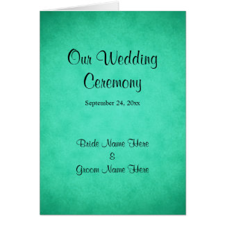 Grün gesprenkeltes Muster-Hochzeits-Programm Grußkarte