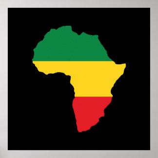 Grün, Gold u. rote Afrika-Flagge Poster