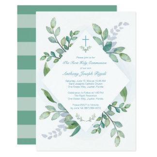 Grün-heilige erste Kommunions-Einladung 12,7 X 17,8 Cm Einladungskarte