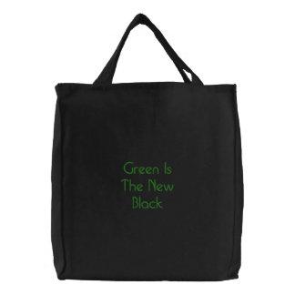 Grün ist das neue Schwarze Bestickte Tragetasche
