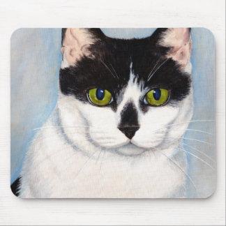 Grün-Mit Augen schwarze u. weiße Katze, die Mauspads