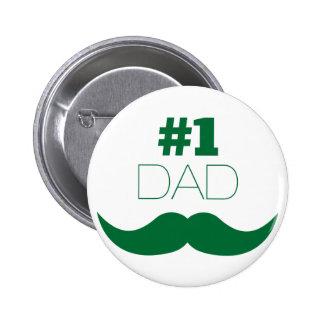 Grün-Schnurrbart des Vati-#1 - Nr. eine Runder Button 5,1 Cm