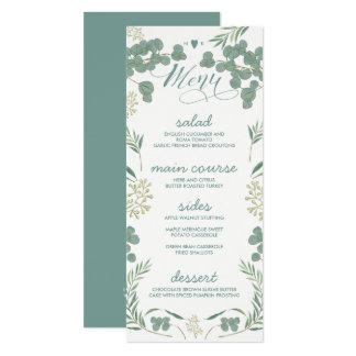 Grün verlässt rustikale Hochzeits-Menü-Karten 10,2 X 23,5 Cm Einladungskarte