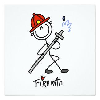 Grundlegende Strichmännchen-Feuerwehrmann-T-Shirts Personalisierte Einladungskarte