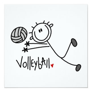 Grundlegender männlicher Strichmännchen-Volleyball Quadratische 13,3 Cm Einladungskarte