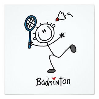 Grundlegendes männliches Strichmännchen-Badminton Quadratische 13,3 Cm Einladungskarte