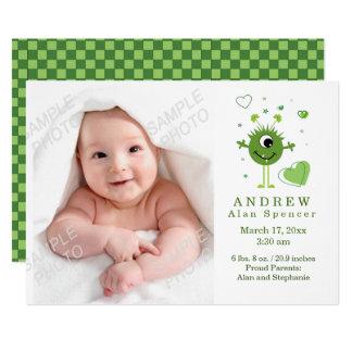 Grüne alien-Geburts-Foto-Mitteilung 12,7 X 17,8 Cm Einladungskarte