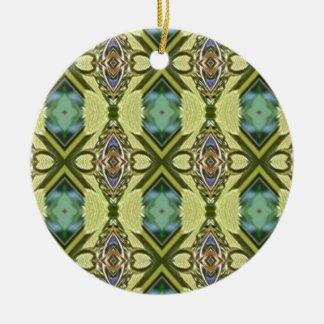 Grüne aquamarine geometrische rundes keramik ornament