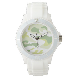 Grüne Armee-weiße Silikon-Uhr Armbanduhr