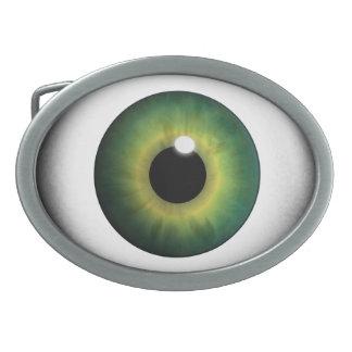 Grüne Augapfel-grünes Augen-Iris-coole Ovale Gürtelschnalle