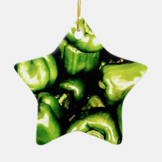 Grüne Bell-Paprikaschoten Keramik Stern-Ornament