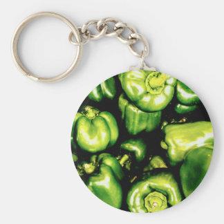 Grüne Bell-Paprikaschoten Schlüsselanhänger