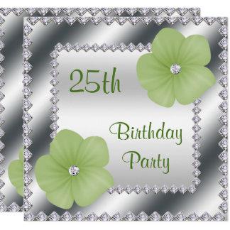 Grüne Blumen u. Diamant-25. Geburtstag Quadratische 13,3 Cm Einladungskarte