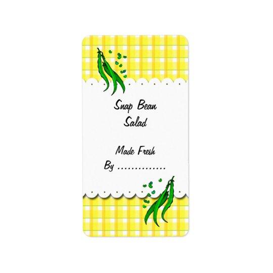 Grüne Bohnen-gelbe Karo-Retro Nahrungsmittelaufkle Adressetiketten