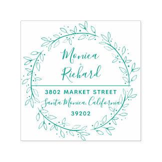 Grüne botanische Wreath-Hochzeits-Rücksendeadresse Permastempel