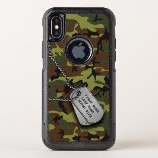 Grüne Camouflage mit Hundeplakette OtterBox Commuter iPhone X Hülle
