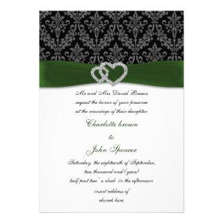 grüne Damast diamante Hochzeitseinladung Personalisierte Ankündigungen
