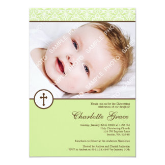 Grüne Damast-Kreuz-Foto-Taufe-Taufe 12,7 X 17,8 Cm Einladungskarte