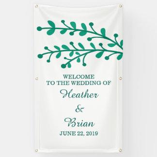 Grüne einfache Laub-Hochzeit Banner
