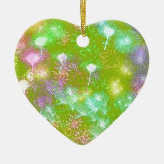 Grüne Feuerwerke Keramik Herz-Ornament