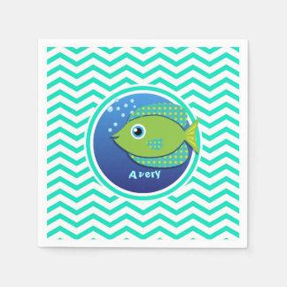 Grüne Fische; Aqua-grünes Zickzack Papierservietten