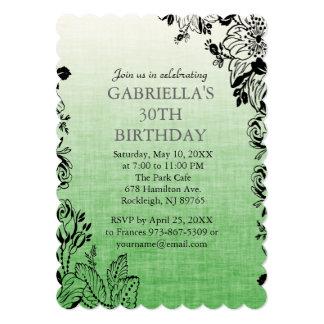 Grüne FließenBlumen Geburtstags-Party Einladung