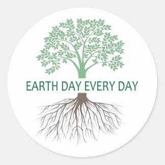 Grüne Gedanken-Tag der Erde-Aufkleber Runder Aufkleber