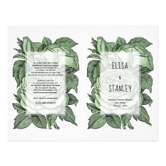 Grüne gefaltetes Programm der Rosen Vintage Flyer