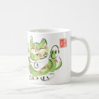 Grüne glückliche Katze Tasse