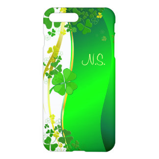 Grüne glückliche Kleeblatt-Imitat-Glitterwelle iPhone 8 Plus/7 Plus Hülle