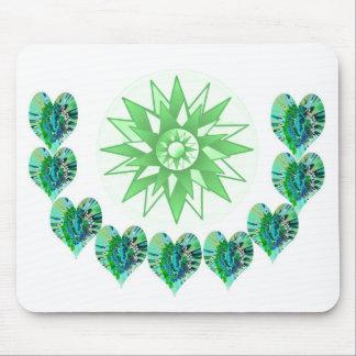 GRÜNE Grün STERNE der Herz-n Mousepads
