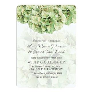 Grüne Hydrangea-Frühlings-Garten-Hochzeit lädt ein Karte
