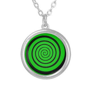 grüne Hypnotik-Spirale Versilberte Kette