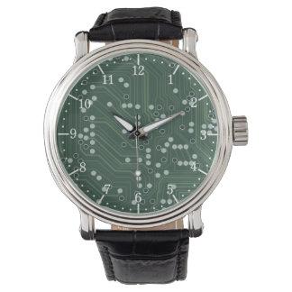 Grüne Leiterplatte-Hintergrund-Muster-Kunst Uhr