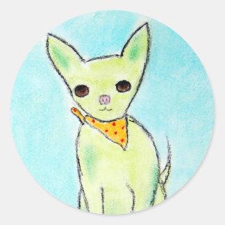 Grüne Mädchen-Chihuahua Runder Aufkleber